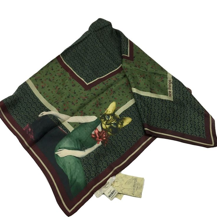 "NICE THING foulard donna 97x97 cm  100% seta ""Cats"""