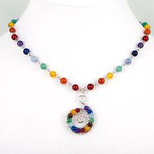 Gemstone Chain NECKLACE, Silver Plated Spiral Pendant, 7 Chakra Reiki Multicolor