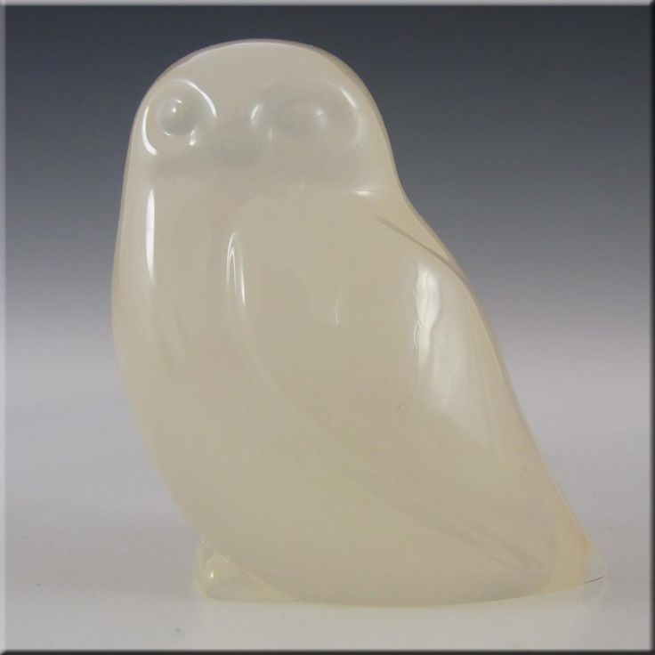 Hadeland Opaline Glass Owl Paperweight - Marked - £20.00
