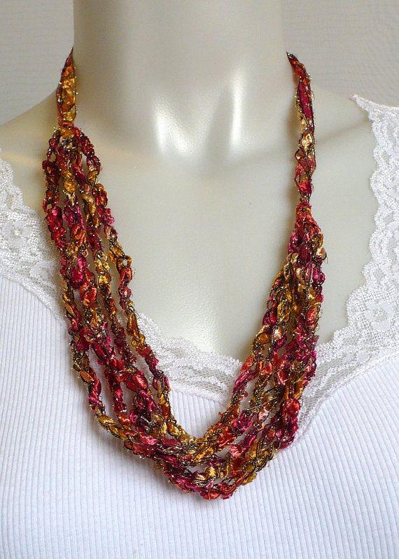 Crochet Patterns Ribbon Yarn : Crocheted Ribbon Necklace, Orange Ladder Yarn Necklace ...