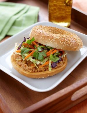 A traditional Vietnamese Banh Mi sandwich is even tastier when you put it on a Dempster's bagel.