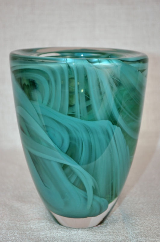 KOSTA BODA Atoll Glass Vase Green by Anna Ehrner - Sweden.