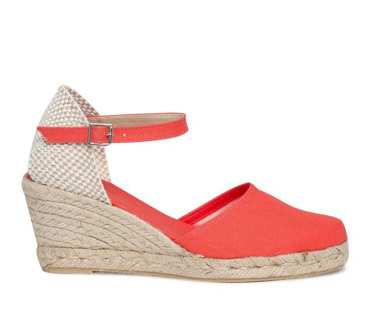 Espadrille compensée toile rouge - Sandales talon - Chaussures femme