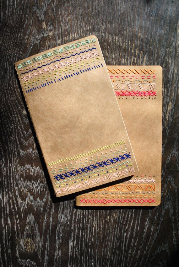 Art journal inspiration: Pattern Embroidered Moleskine Notebooks by ShinyPennyStudio