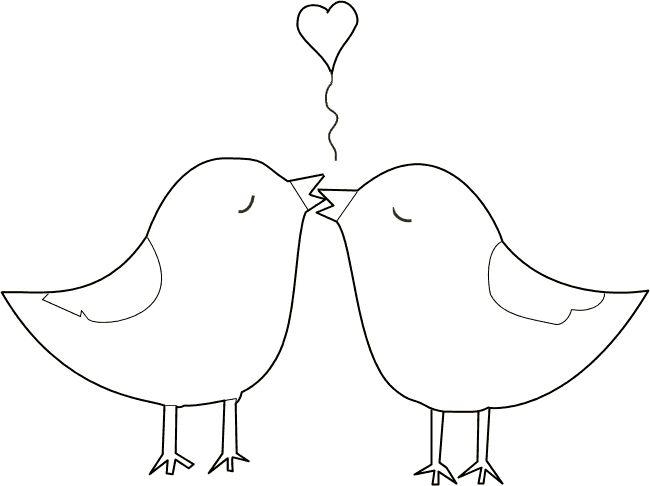 Kleurplaat - Twee verliefde vogeltjes