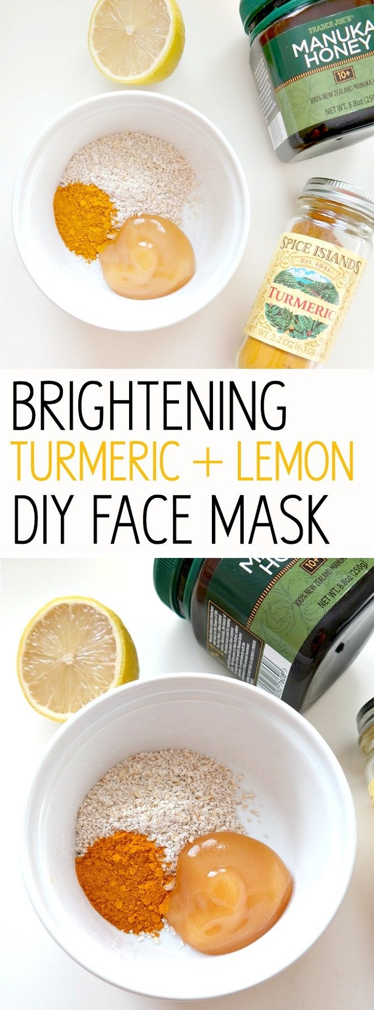 Brightening Turmeric + Lemon DIY Face Mask - 14 Best DIY Skin Brightening (Whitening) Products that Give Miraculous Results