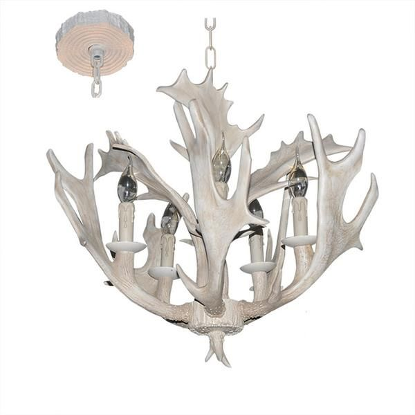 LNC Rustic White Resin Deer Horn Antler  Chandeliers,5 Candle Lights(Bulbs Not Included)