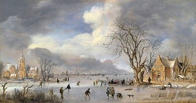 Winterlandschap met schaatsers en kolfspelers door Aert van der Neer
