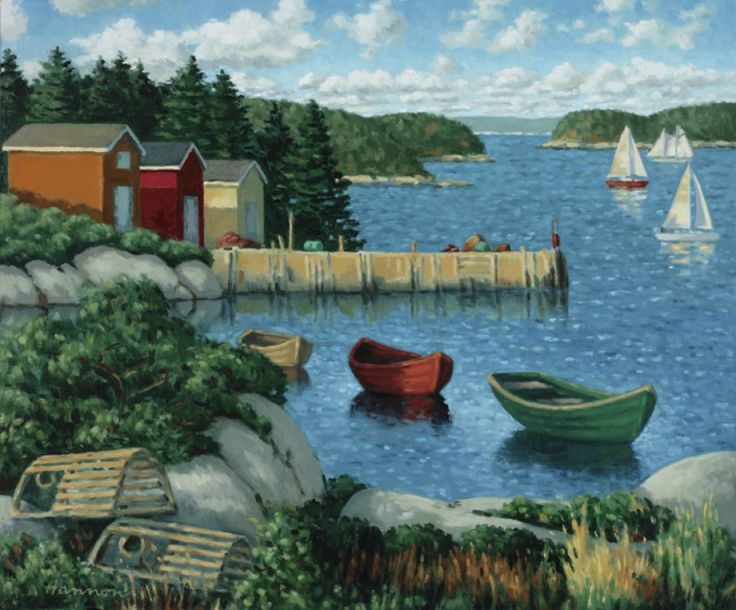 Cove With Three Boats  by Paul Hannon