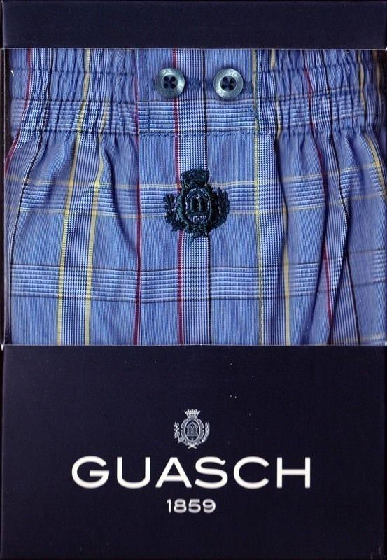 #Boxer guash de Tela - Cuadros Azules - Boxer de tela algodón popelín, en tono azul marino, rayas finas en diferentes tonos, amarillo y rojo. #Hombre #modahombre #ropainterior #calzoncillos http://www.varelaintimo.com/marca/9/guash