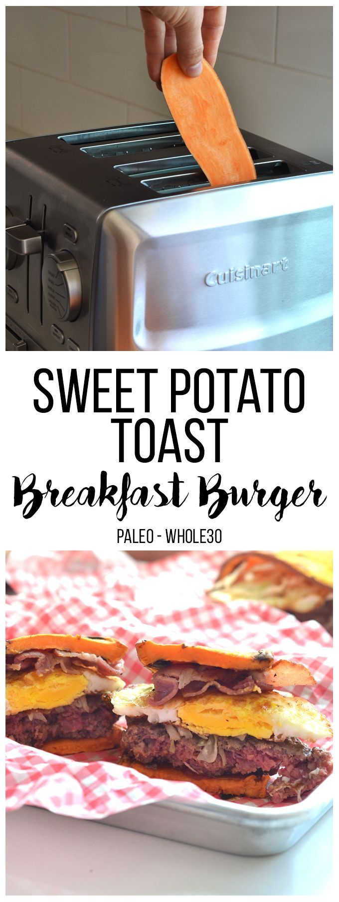 This Sweet Potato Toast Breakfast Burger is the perfect protein packed whole30 and paleo breakfast option!