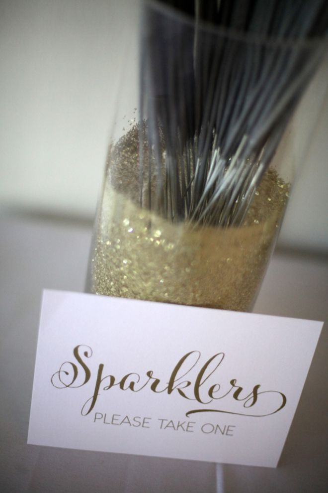 "In sticking with a ""Sparkle"" theme, have guests hold sparklers as you exit the reception!"