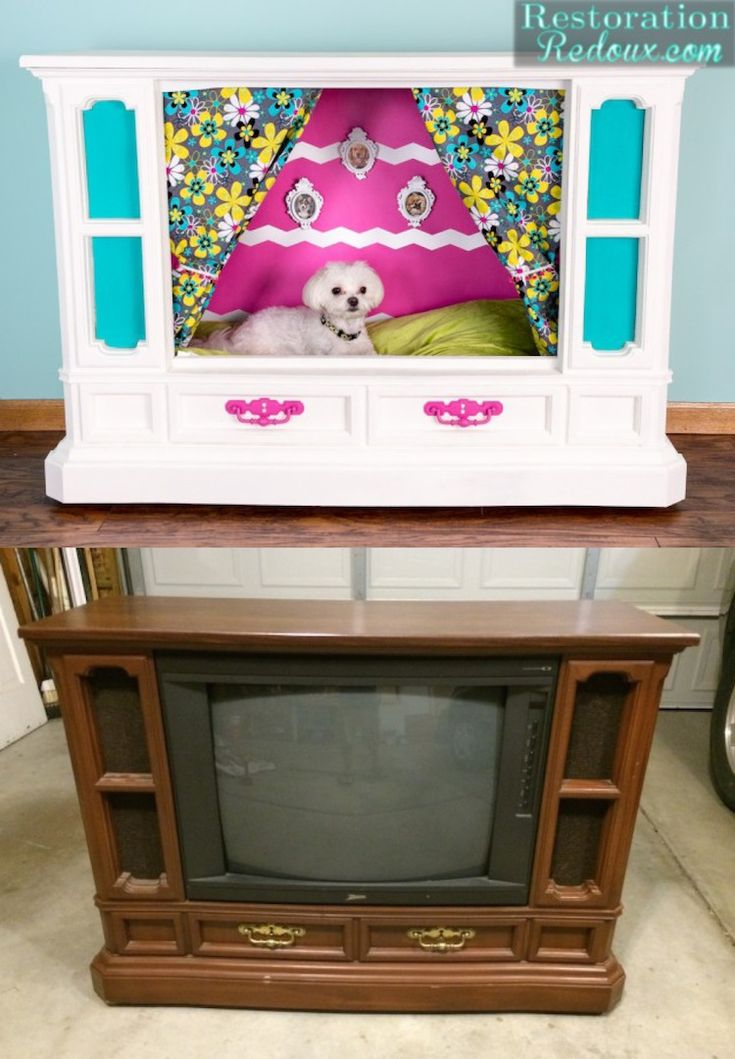 Tube TV Turned Dog House by Restoration Redoux --  could also be a puppet theater for munchkins or an aquarium. ..