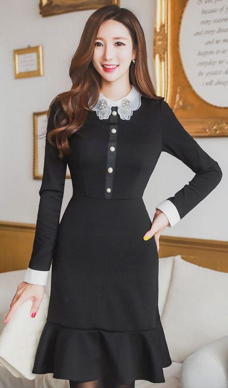 StyleOnme_Jeweled Collar Pearl Button Flounced Dress #black #white #elegant #feminine #girly #koreanfashion falltrend #kstyle #seoul #dress