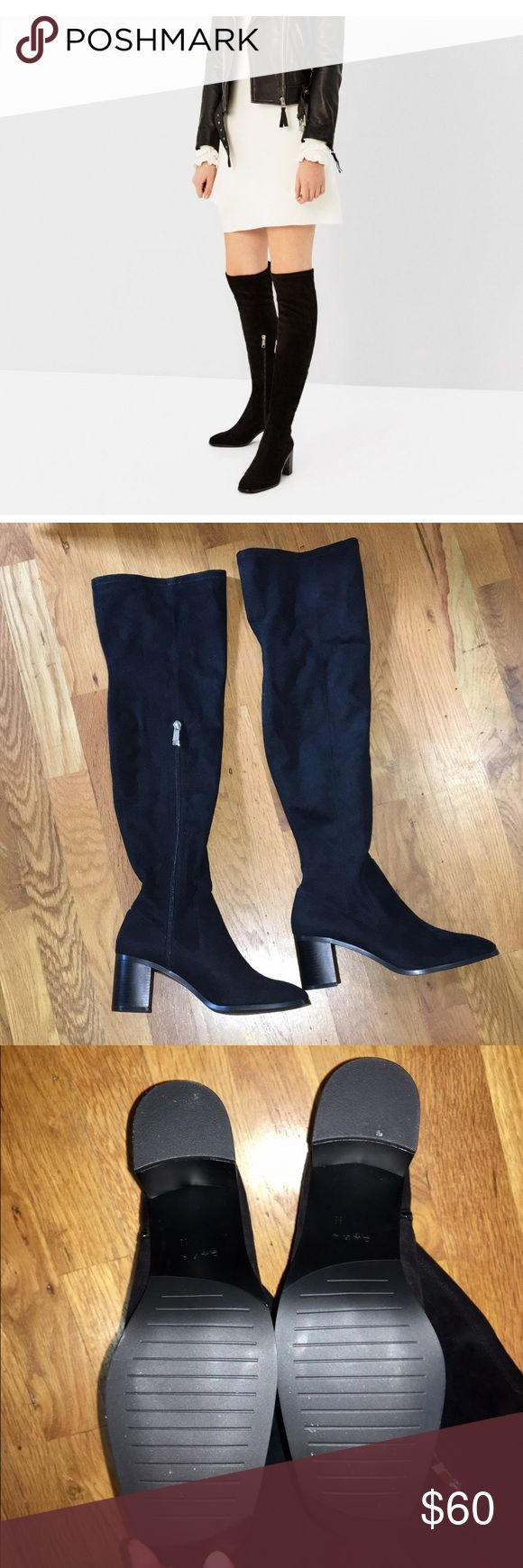 """ZARA Over The Knee Stretch Boots NWT! Zara black over the knee stretch boots. Block heel 2.7"""" Zara Shoes Over the Knee Boots"""