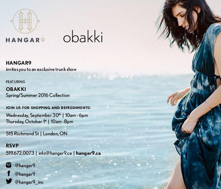 OBAKKI TRUNK SHOW  Wed Sept 30 & Thur Oct 1