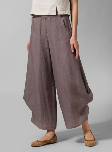 Linen Flared Leg Pants - Taupe Brown.  I like the look tho not the pants.  love the shoes and where the blouse crops.  dee mills
