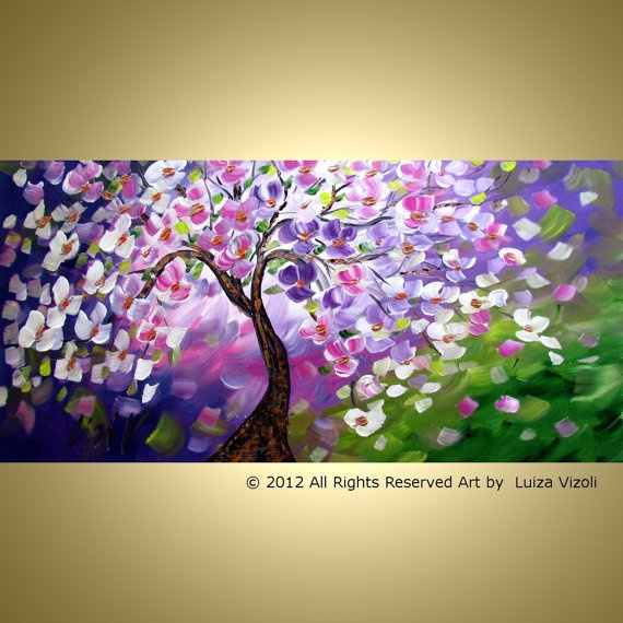 Original Modern Impressionist Flowers Painting on by LUIZAVIZOLI, $349.00