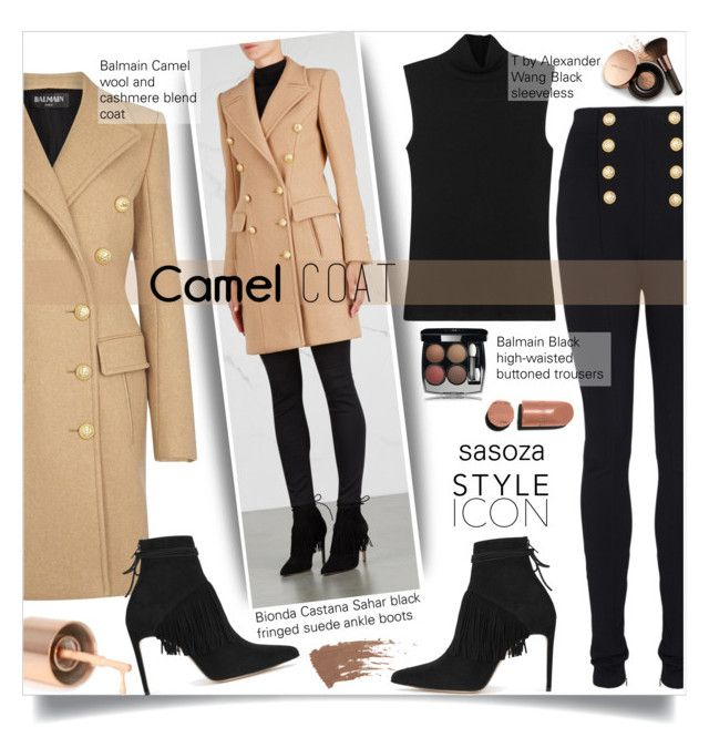 """Camel Coat : by Sasoza"" by sasooza ❤ liked on Polyvore featuring Balmain, T By Alexander Wang, Bionda Castana, Chanel and Nude by Nature"