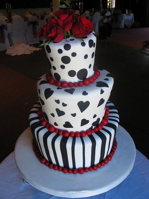 Mad hatter black, red & white stripes, polka dots & hearts by Charly's Bakery, via Flickr