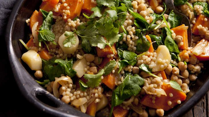 Vegetarian one-pot with sweet potato, pumpkin and pearl cous cous.