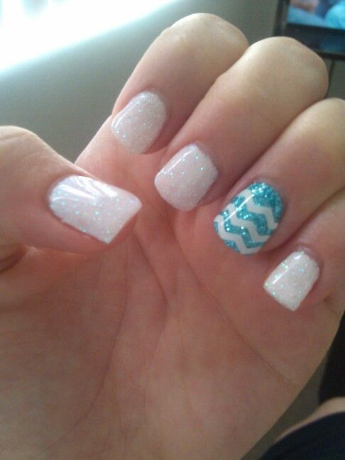 Cute Chevron Nail idea. Would be cute with French tips on the other nails too.