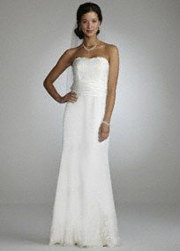 $199 Look sensational on your special day in this gorgeous strapless gown!  Strapless gown features ultra feminine all over lace detail.  Trumpet skirt adds flare and drama.  Fully lined. Back zip. Imported polyester. Spot clean.