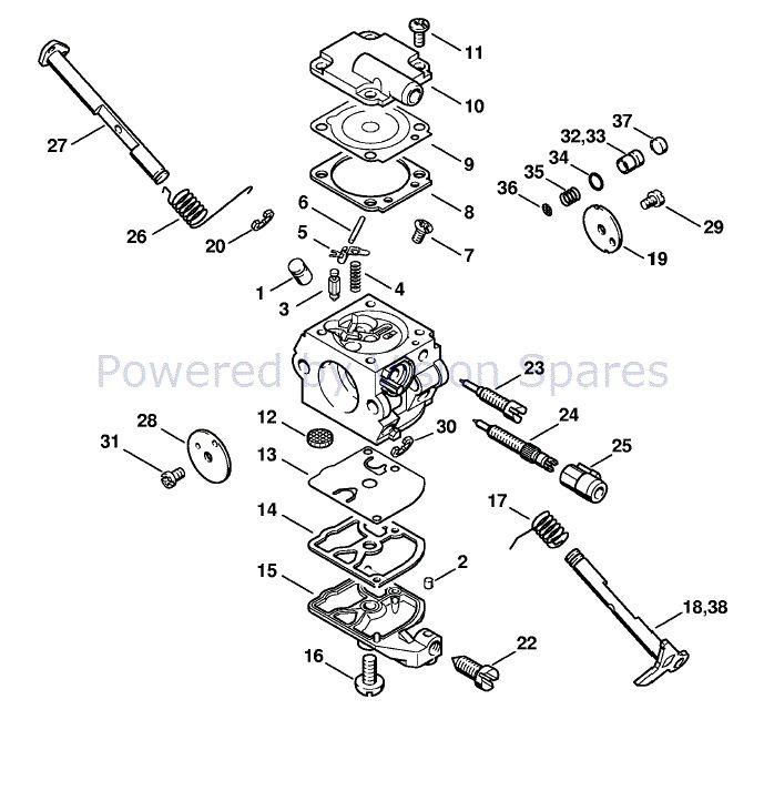 stihl ms 200 chainsaw  ms200z  parts diagram  carburetor