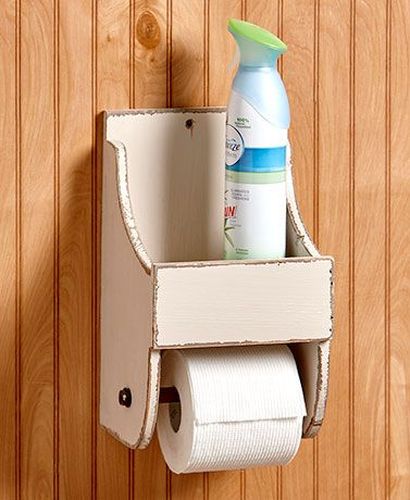 Rustic Toilet Paper Holder with Shelf