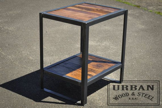 Does your couch or bed look lonely? Flank them with our sturdy Industrial End Tables! Made from reclaimed pine and sealed raw steel, this side or end table is a great addition to any home or workplace. DIMENSIONS: 22w x 20d x 27h OR 18w x 20d x 27h  ************************************************************************************  Please read our shipping policies before ordering and let us know if you have any questions…
