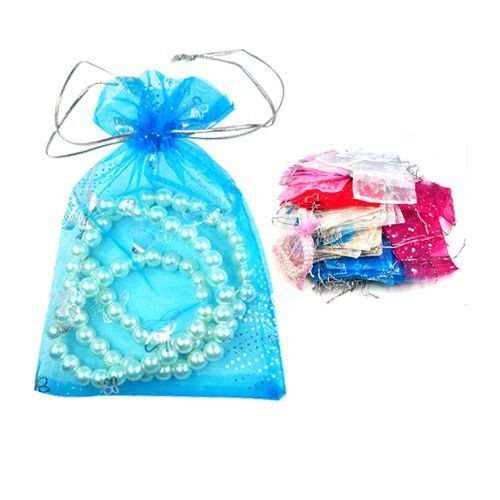 SZS Hot 100 PCs Mixed Organza Gift Bags Jewellery Pouch 13cm X 10cm Wedding Candy Packaging Drawable