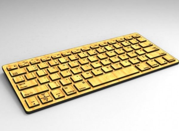 Bamboo wooden bluetooth keyboard with lithium-ion battery