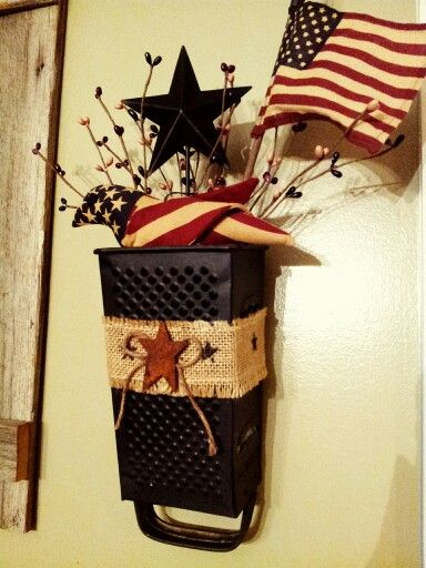 Cheese grater country primitive. USMC décor. Red White & Blue.