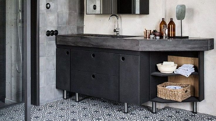 17 best ideas about cement tiles bathroom on pinterest - Meuble vasque retro ...