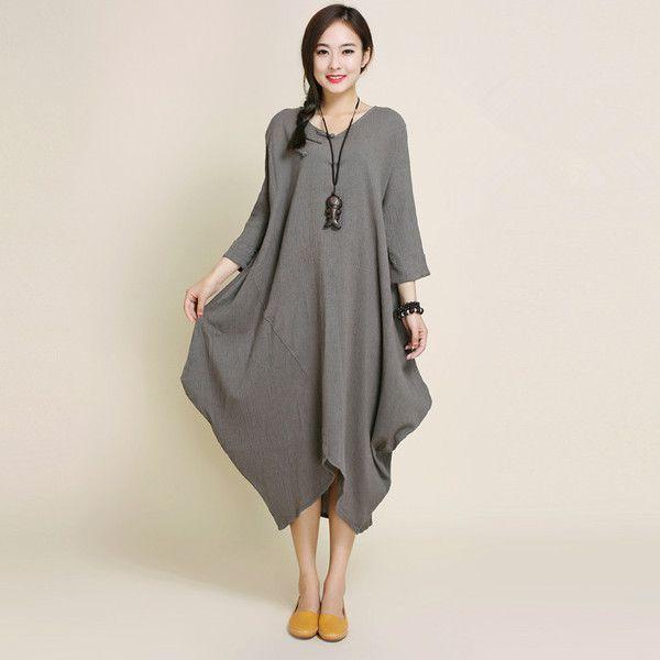 women 3/4 sleeve cotton linen dress - Tkdress  - 1