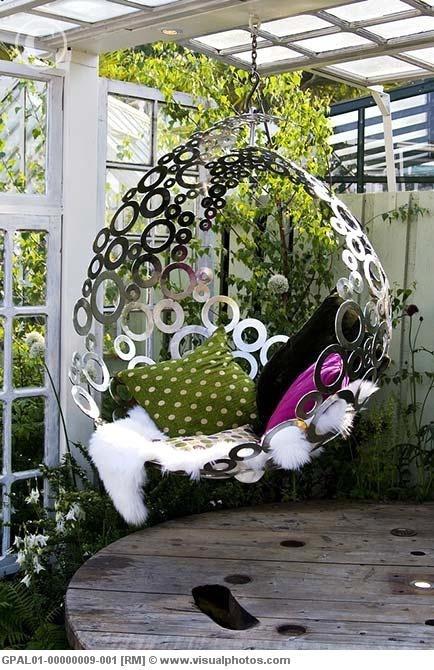Hanging chair backyard patio pinterest
