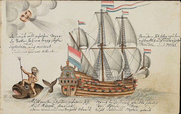 The Batavia Journal, 1669 - 1682. These illustrations come from journals kept by a recruit to the Dutch East India Company. Jörg Franz Müller was a gunsmith from Alsace who enlisted as a midshipman aboard vessels that sailed between Europe and Batavia in Indonesia.