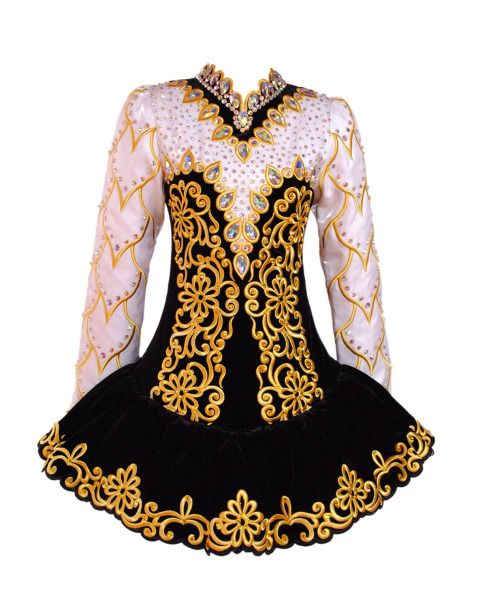 Irish dance dresses 2013 - I think this is box pleats, embroidered & beaded.