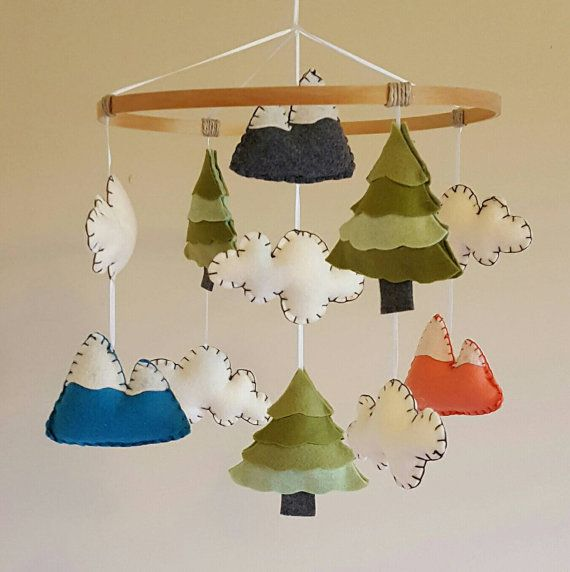 Forest - Baby Mobile - Tree - Mountains - Rustic - Boy Nursery - Crib Accessory - Girl - Gender Neutral - Country - Green - Coral - Teal on Etsy, $67.62 CAD