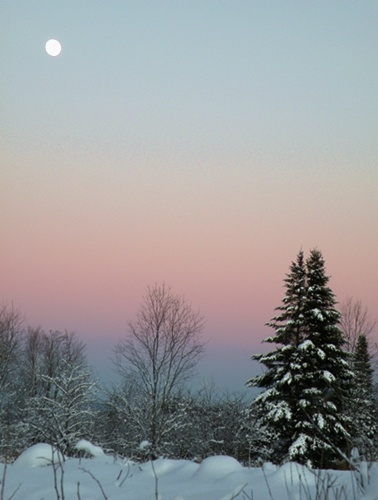 Littleton, NH. Classic NH pink/blue winter sky.
