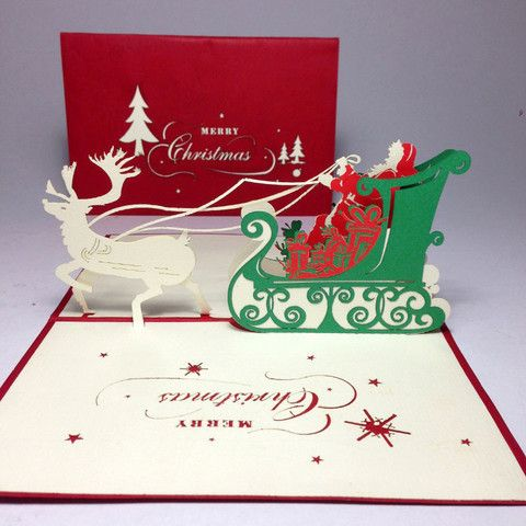 Pine noel card, Christmas greeting card, Xmas 3D pop up card, Santa noel pop up 3D card. 0.65/each when buy from 300pcs