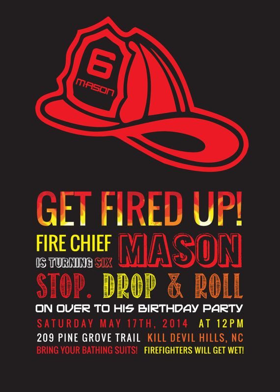 FireFighter Birthday Party Invitation by TheBurchsDesigns on Etsy, $18.00