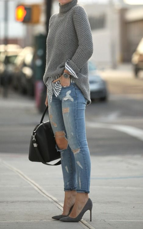 Knit turtleneck with Oxford shirt and distressed jeans | @andwhatelse