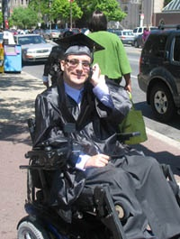 When Micki Greenstein was 13, he..sustained a spinal cord injury that resulted in paralysis from the chest down-At Shriners Hospitals for Children-Philadelphia.. his treatment included functional electrical stimulation(FES),a technique that uses sequences of electrical stimulation of muscles or nerves to2activate them  movement patterns...()had tendon transfer surgeries performed on both arms..procedures (that)helped give the ability2perform typical daily activities  independent.