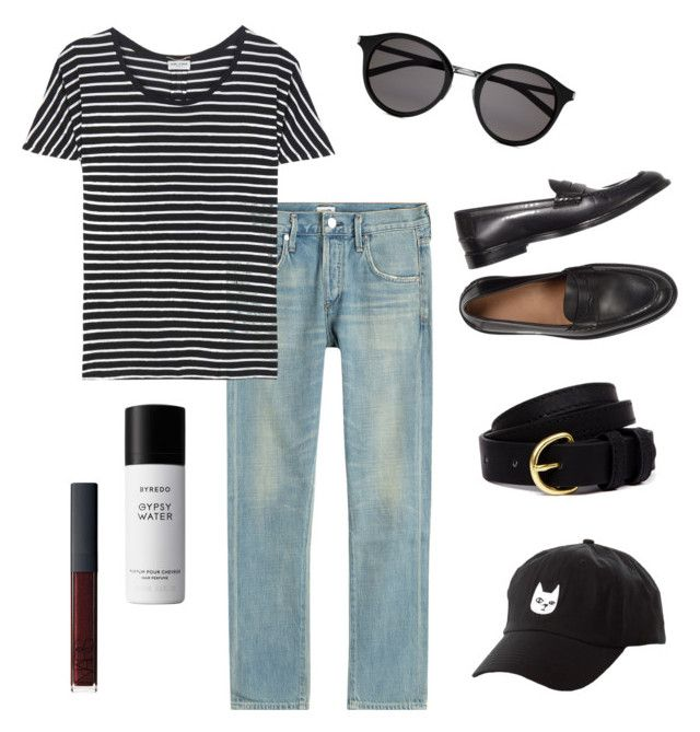"""""""Casual Chic"""" by danitramarie on Polyvore featuring Yves Saint Laurent, Citizens of Humanity, Steven Alan, Liberty, Charlotte Russe, NARS Cosmetics, casual, stripes, minimalstyle and Spring2017"""