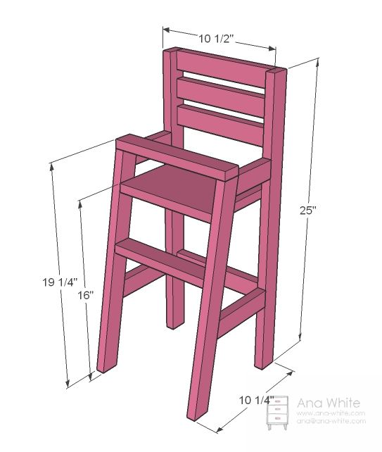 Detailed plans/masurements for basic doll high chair I could adapt and miniaturize | Source: Ana White