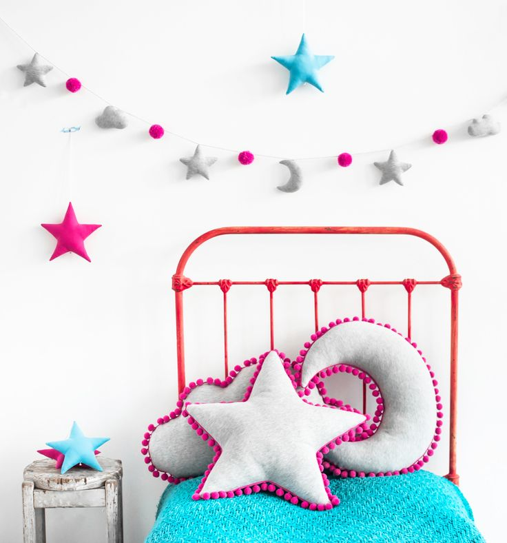 Set of gray pillows with fuchsia pompoms. Star, cloud and moon pillow. Available with garland in the same color. Beautiful room decoration. For kids and adults.
