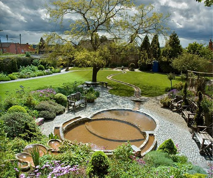 Sacred Wells:  The Seven Bowls Flow Form and the Vesica Pisces Pool at #Chalice #Well, Glastonbury, England.