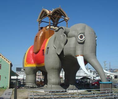Lucy the Elephant, Margate, NJ  Lucy the Elephant's original role, back in 1882, was to sell real estate. In fact, she's the first example of zoomorphic architecture in the U.S. and has the patent to prove it. Located in Margate, NJ, this much-loved roadside folly is artfully crafted from wood and tin and has proved far more versatile than her creator imagined. At 65 feet tall, and housing a spacious hall, Lucy has at various times served as a bar, an office, and a summer home. —Adam…