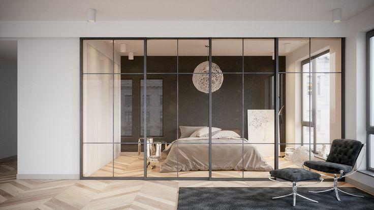 drzwi przesuwne szklane w konstrukcji metalowej